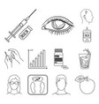 diabetes outline icons in set collection for vector image vector image
