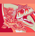 dinosaurus carnosaur head with roses vector image vector image