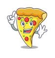 finger pizza slice mascot cartoon vector image vector image