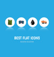 flat icon fuel set of droplet fuel canister van vector image