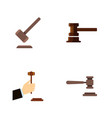 Flat icon hammer set of law government building vector image