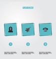 flat icons aircraft hat tomb and other vector image vector image