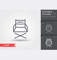 folding chair line icon with editable stroke with vector image vector image