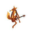 fox playing guitar cartoon animal character with vector image vector image