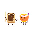 funny breakfast characters - oatmeal and toast vector image