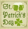 green clover and two beer mugs vector image