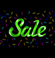 green text sale lettering on black background vector image
