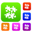 jigsaw puzzles set collection vector image vector image
