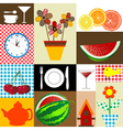 Kitchen table cloth design vector image vector image