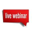 live webinar red 3d speech bubble vector image vector image