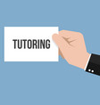 man showing paper tutoring text vector image