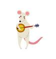 mouse playing domra cute cartoon animal musician