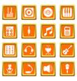 recording studio symbols icons set orange square vector image vector image