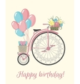 Retro Bicycle style with flowers and balloons vector image