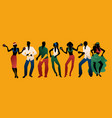 salsa party time group of three men and four vector image