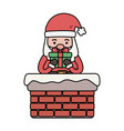santa coming out chimney with gift decoration vector image