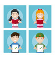 school students cartoons collection vector image
