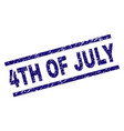 scratched textured 4th of july stamp seal vector image vector image