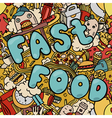 Seamless background with fast food symbols vector image vector image