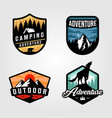 set adventure camping logo outdoor design vector image