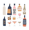 set hand drawn alcoholic drinks cocktails with vector image vector image