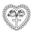 silhouette heart decorative frame with couple and vector image vector image