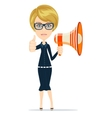 Smiling businesswoman with megaphone vector image vector image