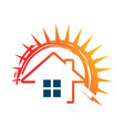 solar panels logo house and sun template vector image vector image