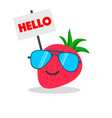 strawberry face cartoon with emotion sunglasses vector image