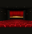 theater stage with red curtains and seats vector image