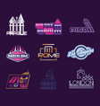 world cities labels set logo graphic templates vector image vector image