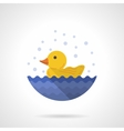 Yellow rubber duck flat color icon vector image