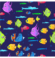 fishes seamless pattern cute cartoon aquarium vector image