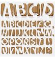 Wooden 3D alphabet vector image