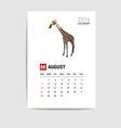 2016 August calendar giraffe polygon vector image vector image