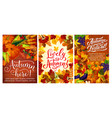 autumn festival or party posters with fall harvest vector image vector image