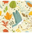 Autumn pattern with leaves and birds vector image vector image