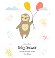 bashower invitation card with cute sloth vector image vector image