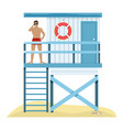 beach landscape with a lake lifeguard vector image vector image