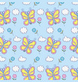 beauty butterflies insects with flowers and clouds vector image vector image