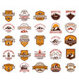 big set mountain hiking emblems design element vector image vector image