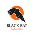 black bat logo design with circle vector image vector image