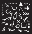black hand drawn curvy direction arrows icons set vector image