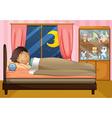 Boy sleeping in his bedroom vector image vector image