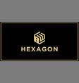 bw hexagon logo vector image vector image
