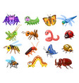 cartoon insects set funny bugs cute beetles vector image vector image