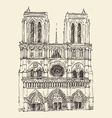 cathedral notre dame de paris france vintage vector image