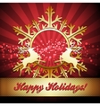 Christmas card with snowflake and reindeers vector image vector image