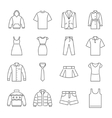 clothes icons thin line style flat design vector image vector image