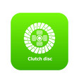 clutch disc icon green vector image